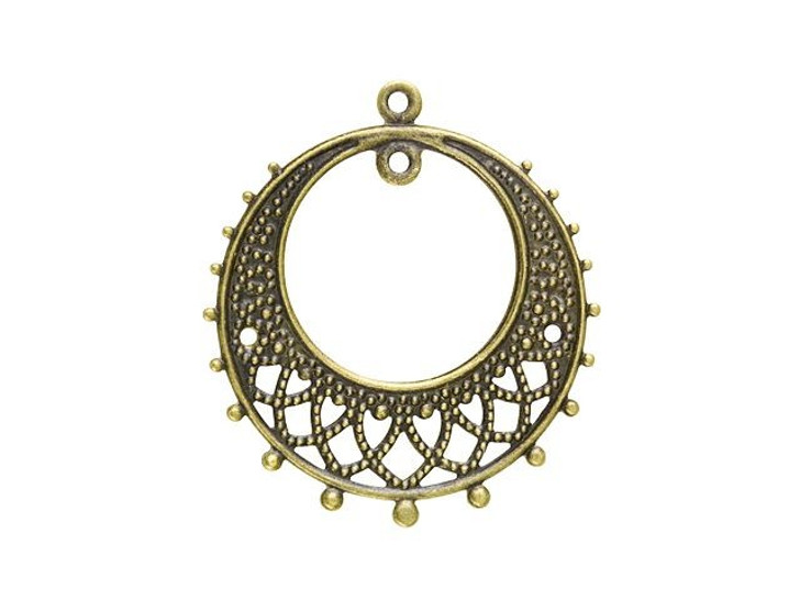 25mm Antique Brass-Plated 2-Hole Round Lacy Chandelier