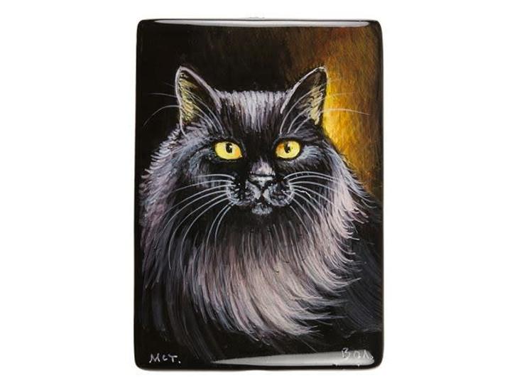 25x35mm Black Norwegian Forest Cat on Black Agate Rectangle Bead