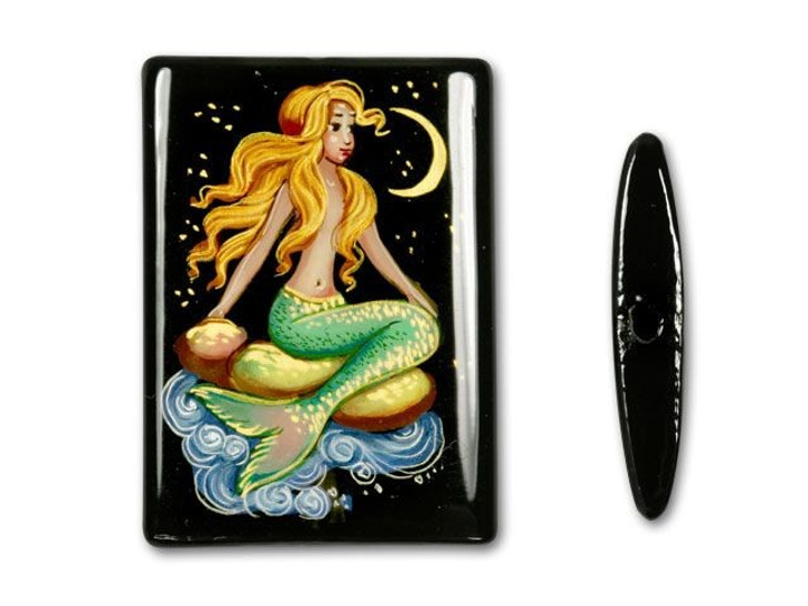 25x35mm Rectangle Black Agate Mermaid Looking at Moon