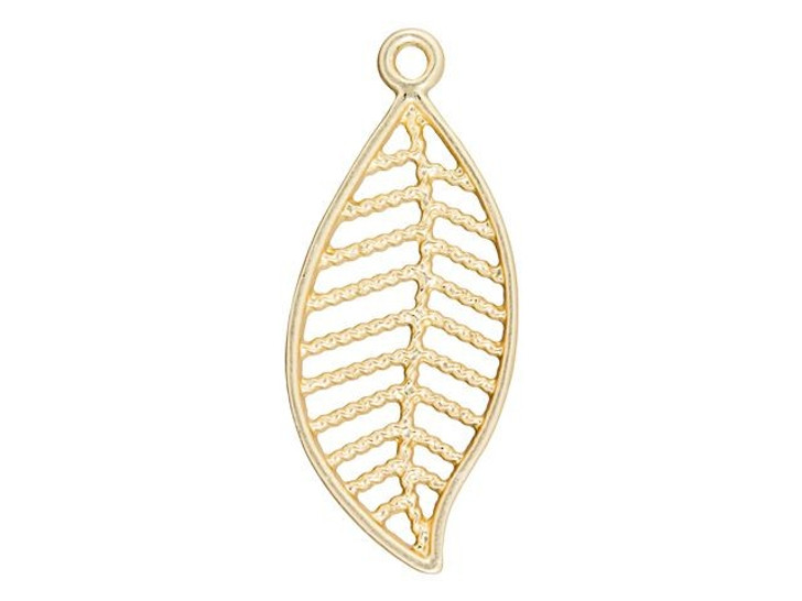 27mm Satin Hamilton Gold-Plated Pewter Leaf Charm