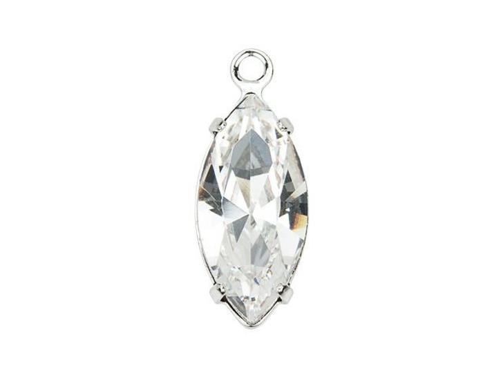 Swarovski 13304 Rhodium-Plated Navette Charm with Crystal