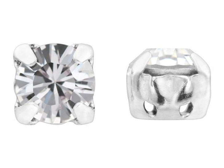 Swarovski 17704 SS39 XILION Rhodium-Plated Setting 2-Holes Crystal