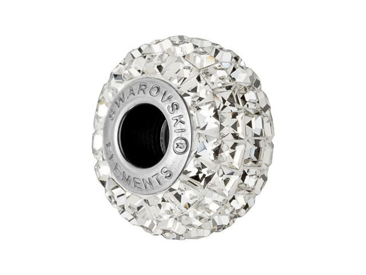 Swarovski 180201 15mm BeCharmed Pave Bead with Crystal Square Fancy Stones on White Base