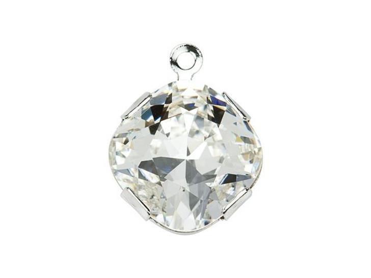 Swarovski 18704 Rhodium-Plated Round Charm with Crystal