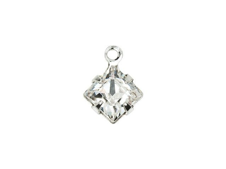 Swarovski 18804 Rhodium-Plated Square Charm with Crystal