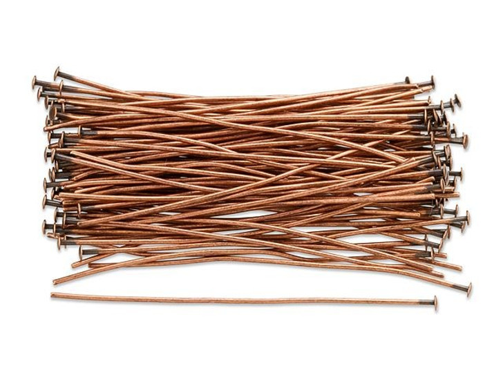 2-Inch Antique Copper-Plated 21 Gauge Head Pin (100pc Pack)