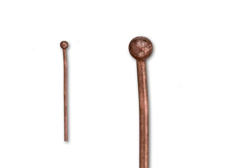 2-Inch Antique Copper-Plated 2mm Ball End Head Pin - 20 Gauge