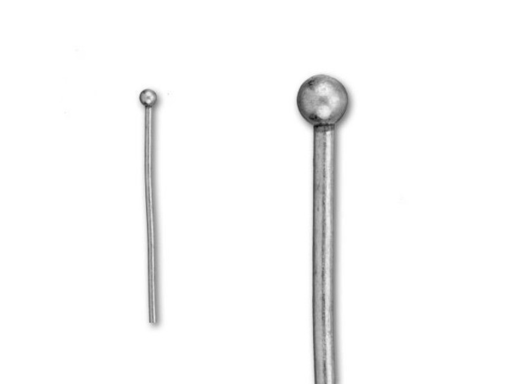 2-Inch Antique Silver-Plated 2mm Ball End Head Pin - 20 Gauge