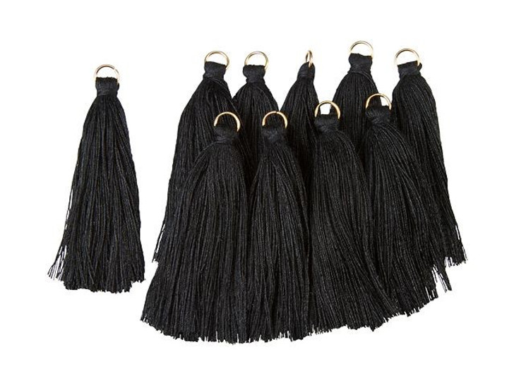 2-Inch Black Tassel with Gold Ring (10pc pack)