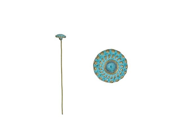 2-Inch Brass Bali-Style Head Pin with Patina Finish (10pc)