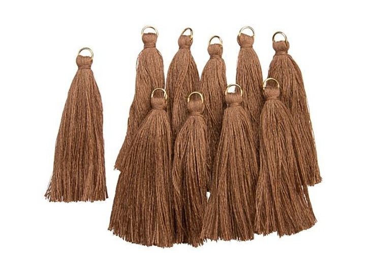 2-Inch Brown Tassel with Gold Ring (10pc pack)