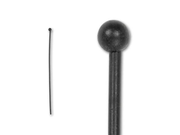 2-Inch Matte Black-Plated 2mm Ball End Head Pin - 20 Gauge