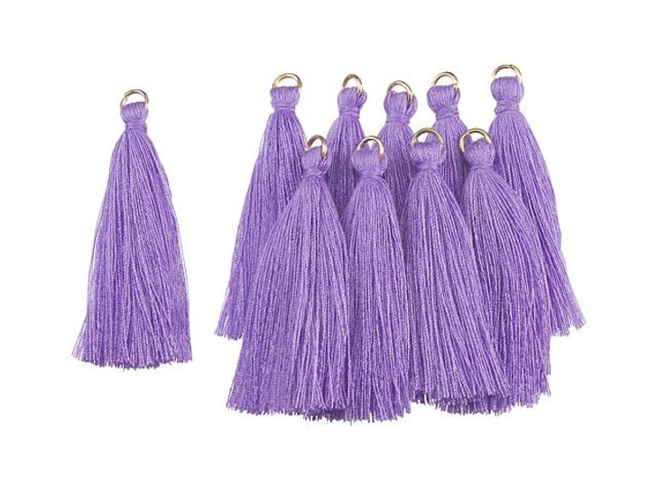 2-Inch Purple Tassel with Gold Ring (10pc pack)