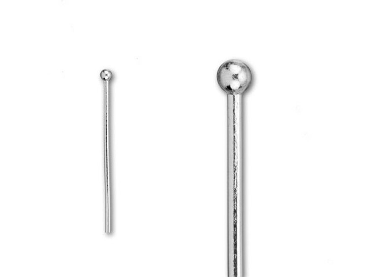 2-Inch Silver-Plated 2mm Ball End Head Pin - 20 Gauge