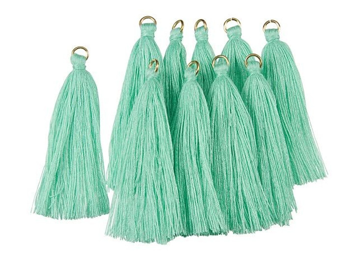 2-Inch Turquoise Tassel with Gold Ring (10pc pack)