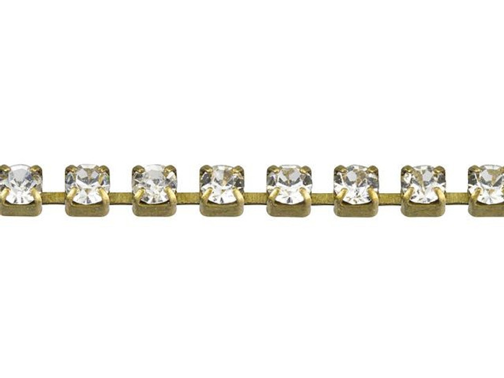2mm Antique Brass Crystal Rhinestone Cup Chain By the Foot