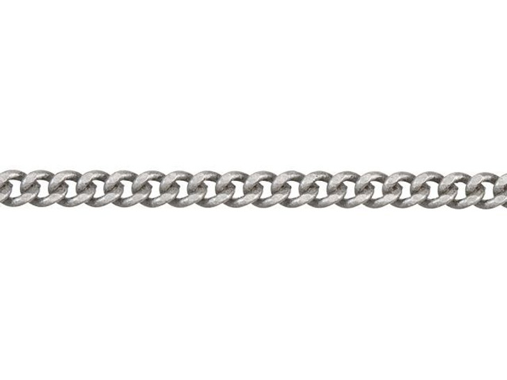 2mm Antique Silver-Plated Brass Delicate Flat Curb Chain By the Foot