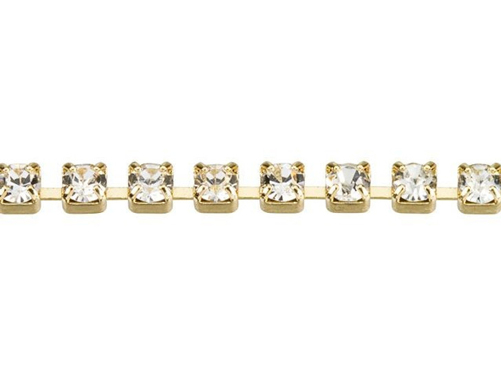 2mm Gold-Plated Brass Crystal Rhinestone Cup Chain By the Foot