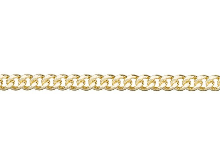 2mm Gold-Plated Brass Delicate Flat Curb Chain By the Foot
