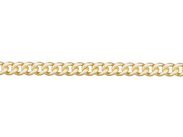 2mm Satin Hamilton Gold-Plated Brass Delicate Flat Curb Chain By the Foot