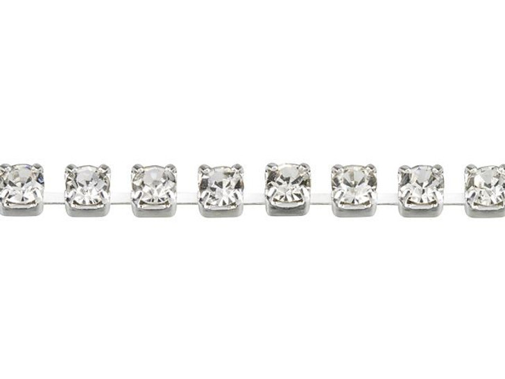 2mm Silver-Plated Brass Crystal Rhinestone Cup Chain By the Foot