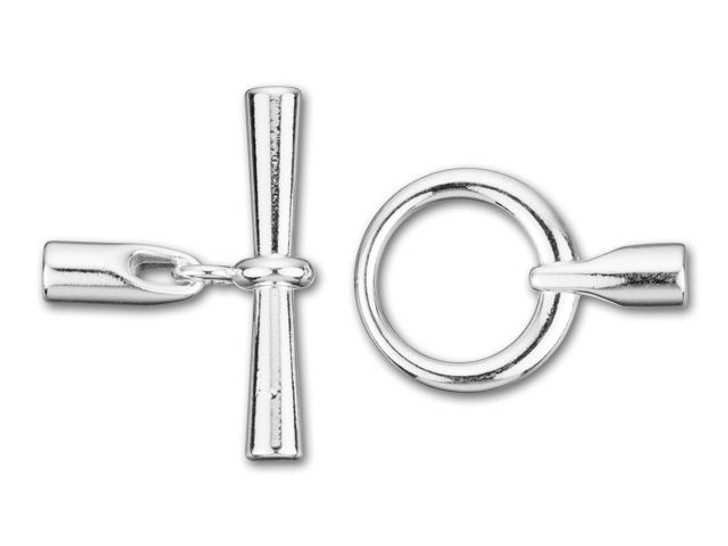 3.2mm ID Silver-Plated Small Round Kumihimo Toggle Clasp