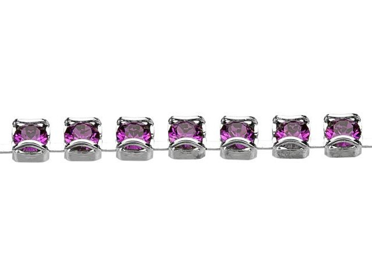 Swarovski 27001 Rhodium-Plated Catch Free Cup Chain with 1088 PP18 XIRIUS Amethyst Crystal by the Foot
