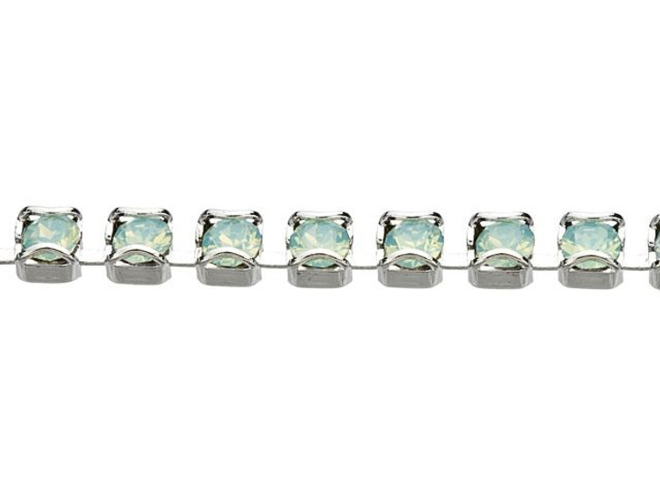 Swarovski 27001 Rhodium-Plated Catch Free Cup Chain with 1088 PP18 XIRIUS Pacific Opal Crystal by the Foot