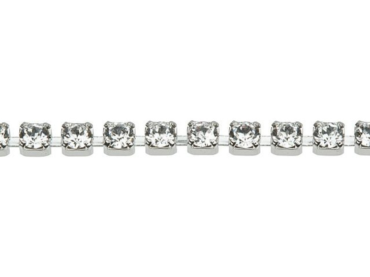 Swarovski 27004 Rhodium-Plated Cup Chain with 1028 PP14 XILION Crystal by the Foot