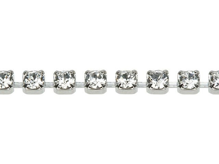Swarovski 27004 Rhodium-Plated Cup Chain with 1028 PP18 XILION Crystal by the Foot