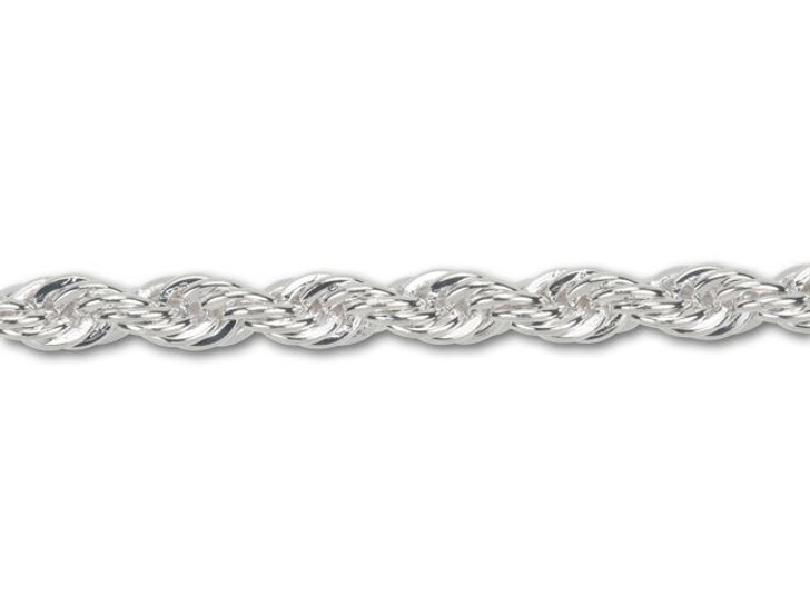 3.8mm Silver-Plated Rope Chain By the Foot