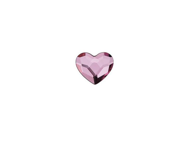 Swarovski 2808 6mm Heart Flatback Crystal Antique Pink