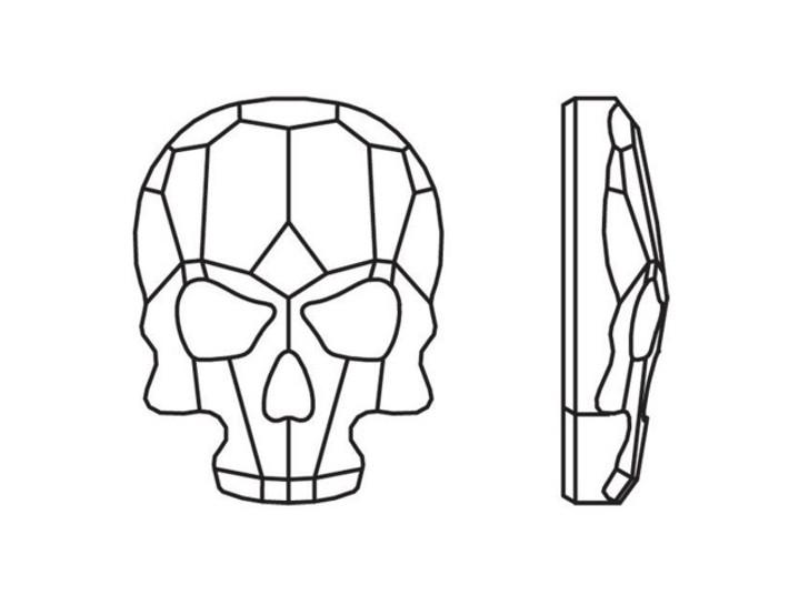Swarovski 2856 14mm Skull Flatback Crystal Silver Night