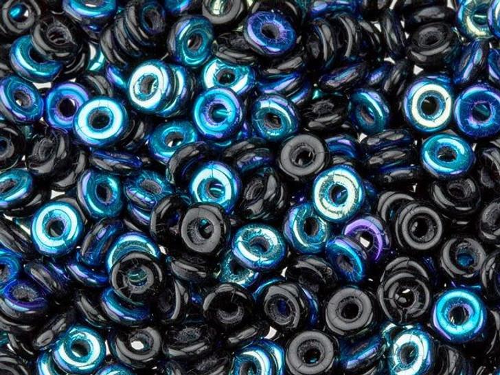 Czech Glass O Beads 3.8 x 1mm Jet AB 8g Bag