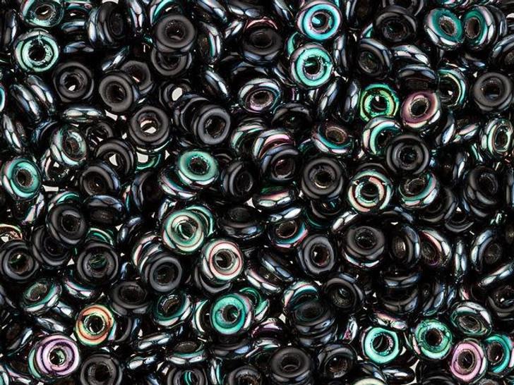 Czech Glass O Beads 3.8 x 1mm Jet Apricot Medium 8g Bag