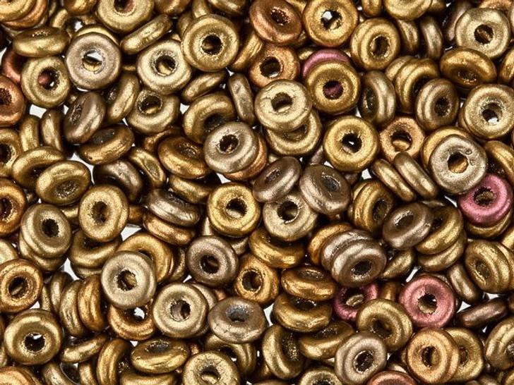 Czech Glass O Beads 3.8 x 1mm Metallic Mix 8g Bag