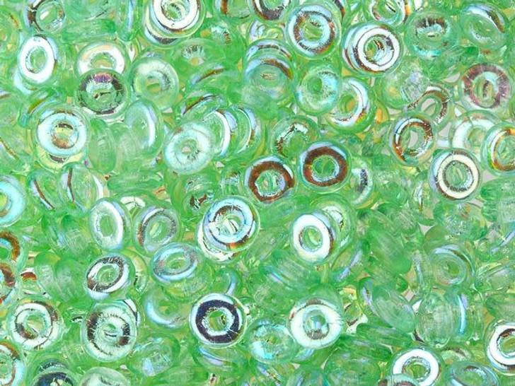 Czech Glass O Beads 3.8 x 1mm Peridot AB 8g Bag