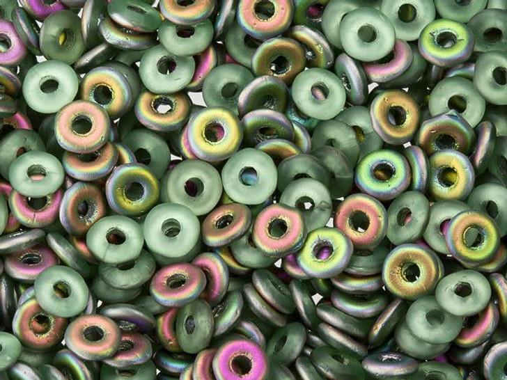 Czech Glass O Beads 3.8 x 1mm Peridot Matte Vitrail 8g Bag