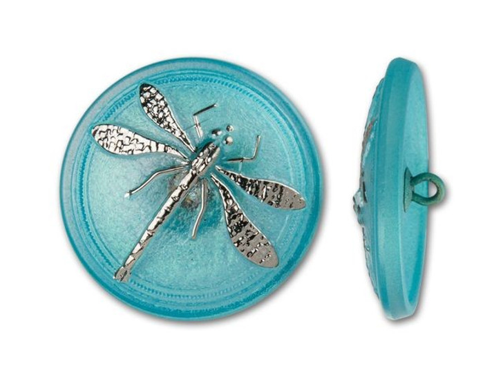 30mm Czech Glass Round Silver Dragonfly Turquoise Background Button by Raven's Journey