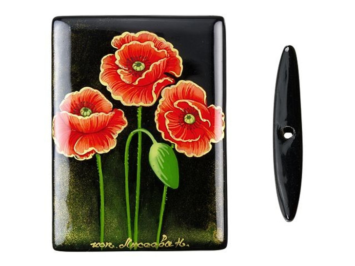 30x40mm 3 Poppies on Black Agate Rectangle Bead