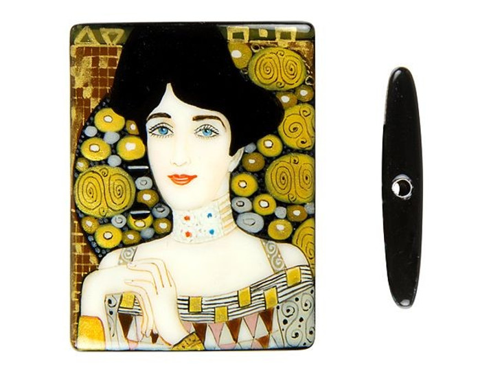 30x40mm Adele Bloch-Bauer by Klimt on Black Agate Rectangle Bead