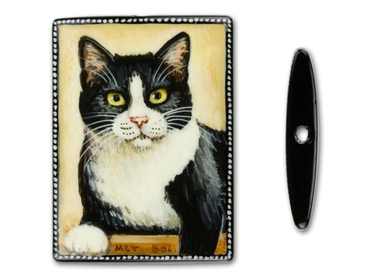 30x40mm Black and White Cat on Black Agate Rectangle Bead