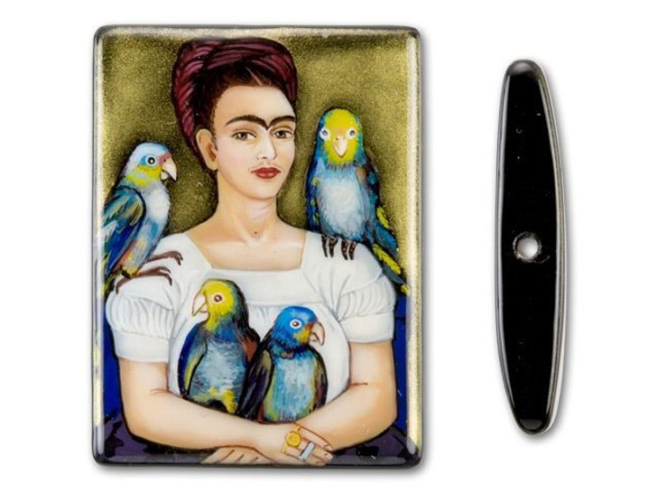 30x40mm Me and my Parrots by Frida Kahlo on Black Agate Rectangle Bead