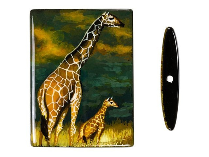 30x40mm Mom and Baby Giraffe on Black Agate Rectangle Bead