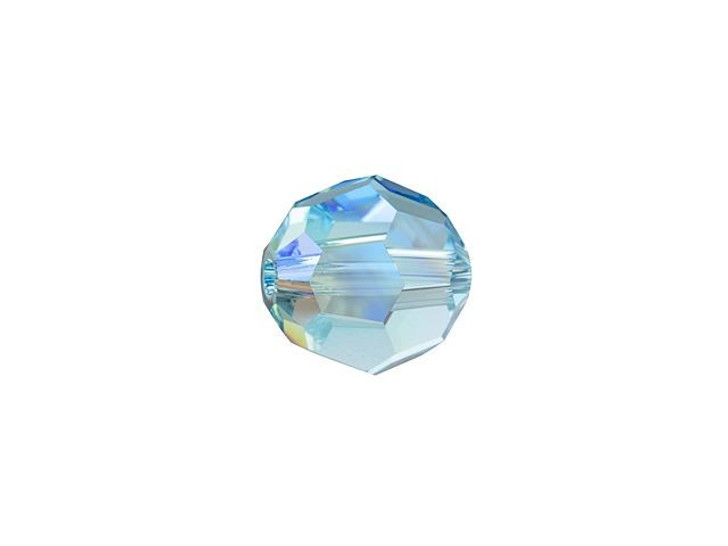 Swarovski 5000 6mm Faceted Round Aquamarine Shimmer