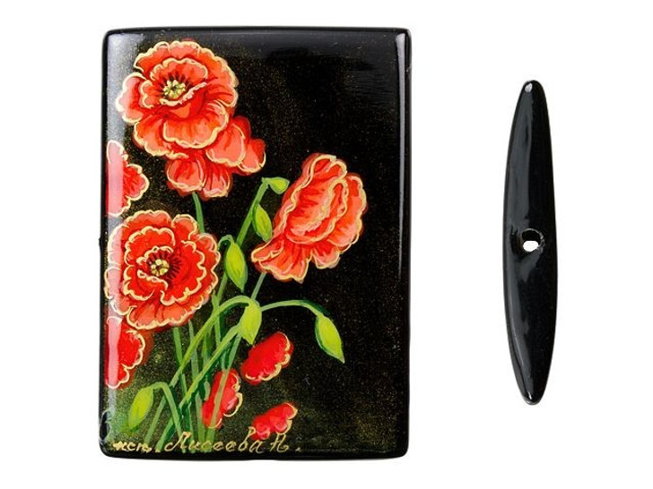 30x40mm Poppy Bouquet on Black Agate Rectangle Bead