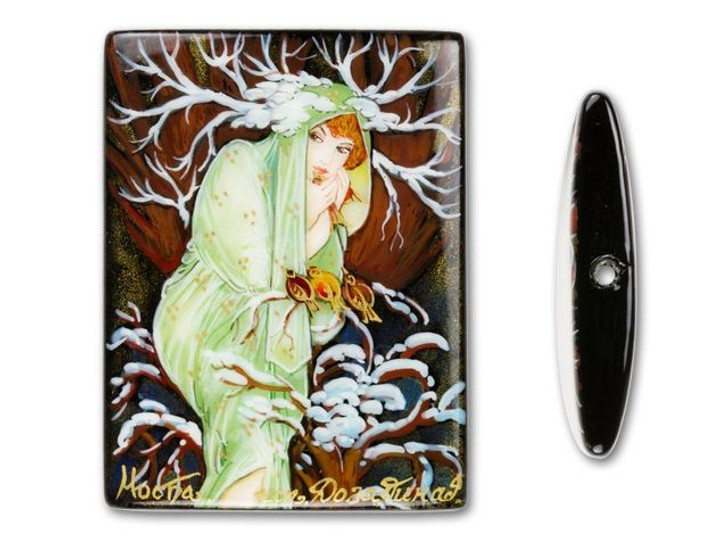 30x40mm Rectangle Black Agate - Winter by Mucha
