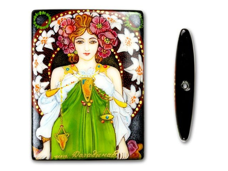 30x40mm Rectangle Black Onyx - Leslie Carter by Mucha