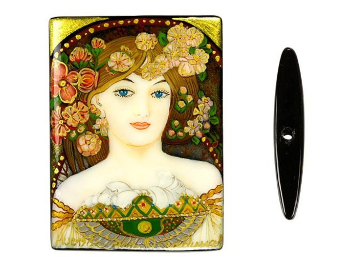 30x40mm Reverie in Gold by Mucha on Black Agate Rectangle Bead