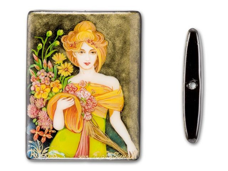 30x40mm Woman in Evening Garden Dress on Black Agate Rectangle Bead